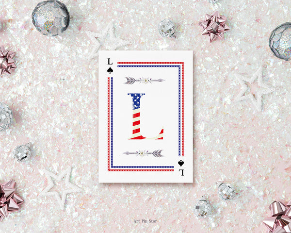 American Flag Letter L Spade Monogram Note Cards