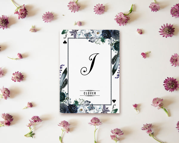 Watercolor Floral Flower Bouquet Initial Letter I Clover Monogram Note Cards