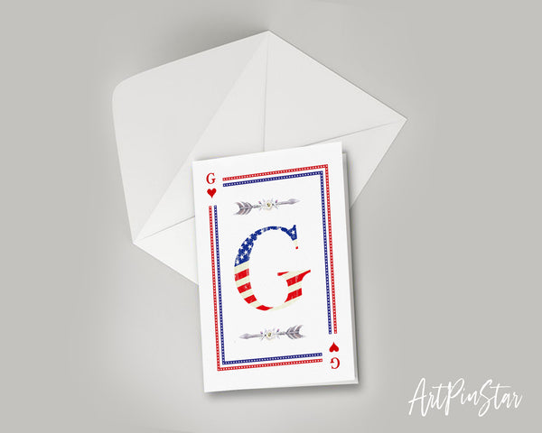 American Flag Letter G Heart Monogram Note Cards
