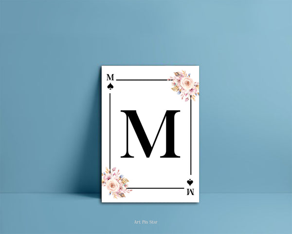 Boho Floral Bouquet Initial Flower Letter M Spade Monogram Note Cards