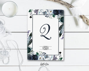 Watercolor Floral Flower Bouquet Initial Letter Q Spade Monogram Note Cards