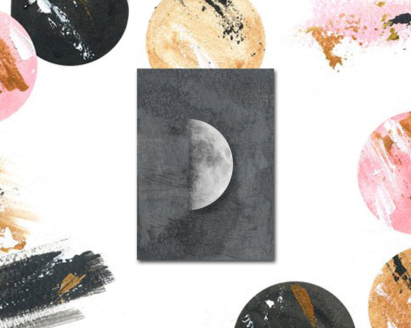 First Quarter Moon Phases Watercolor Galaxy Space Customizable Greeting Card
