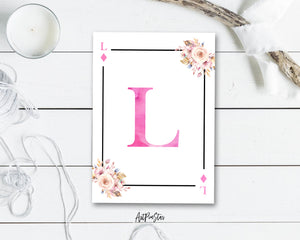 Boho Floral Bouquet Initial Flower Letter L Diamond Monogram Note Cards