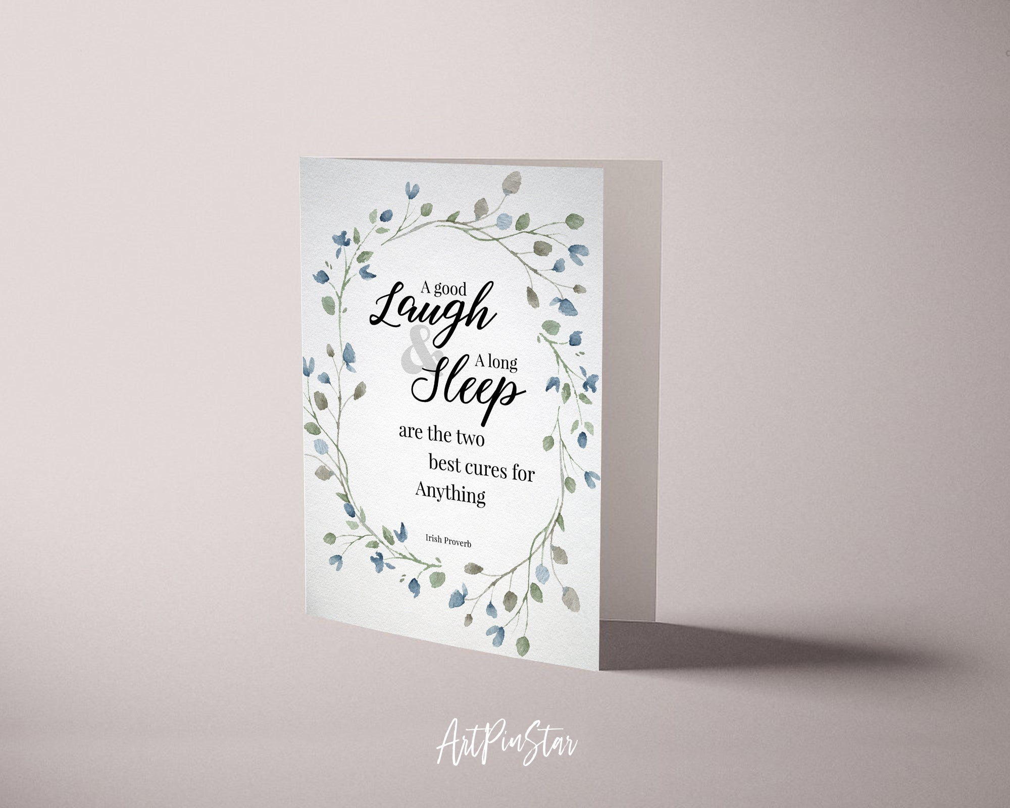 A good laugh & a long sleep are the two best cures Irish Proverb Customized Greeting Card