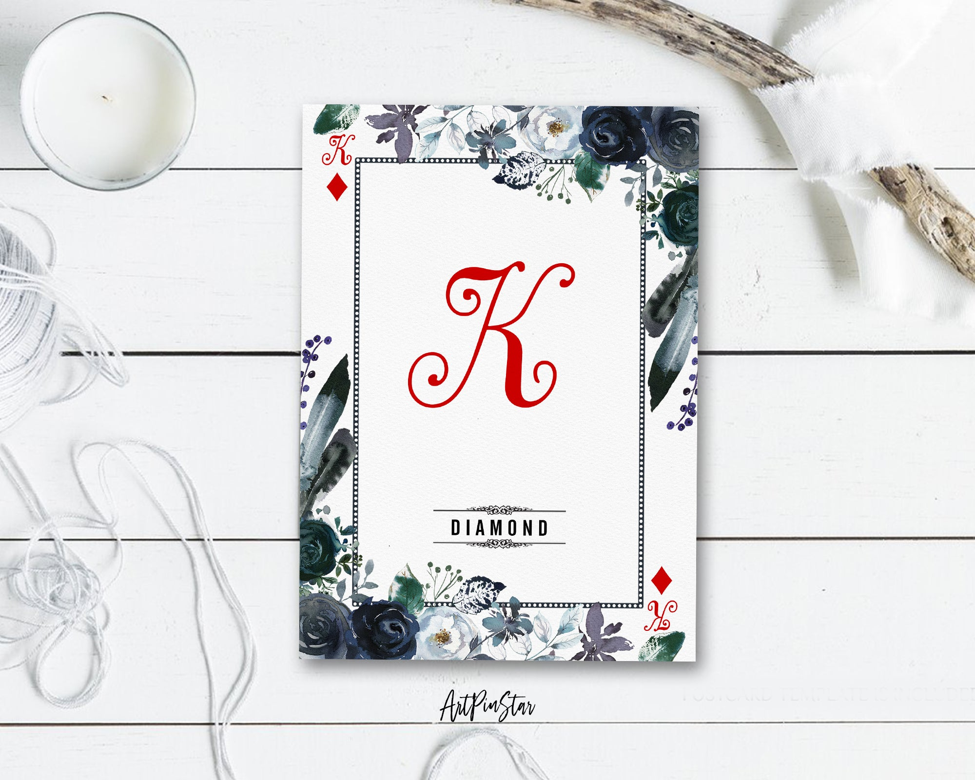 Watercolor Floral Flower Bouquet Initial Letter K Diamond Monogram Note Cards