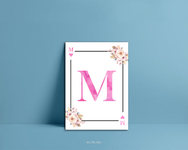 Boho Floral Bouquet Initial Flower Letter M Heart Monogram Note Cards