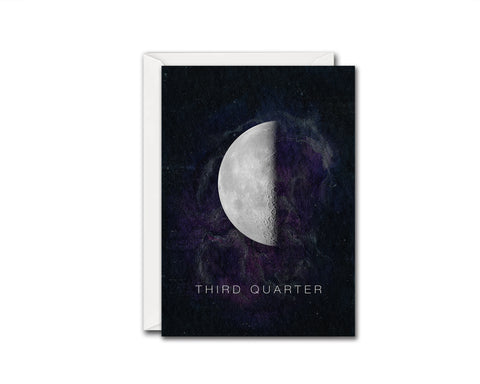 Third Quarter Moon Phases Universe Space Customizable Greeting Card