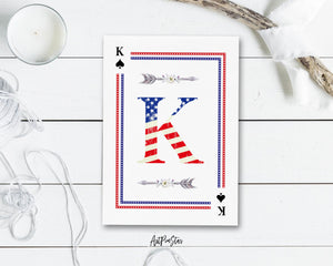American Flag Letter K Spade Monogram Note Cards