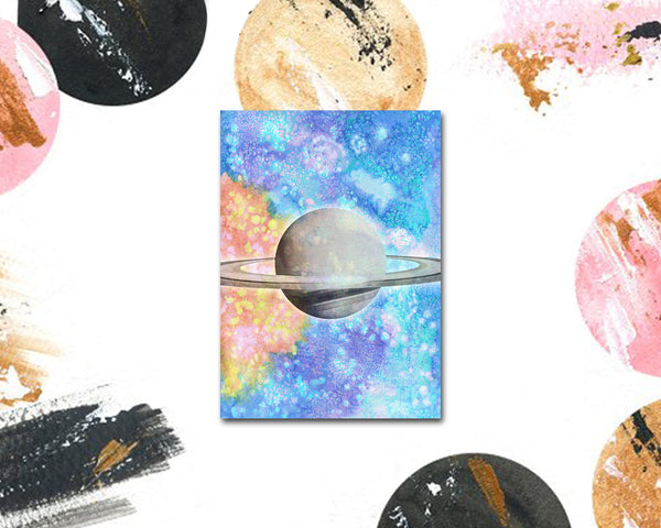 Saturn Planet Watercolor Galaxy Space Customizable Greeting Card