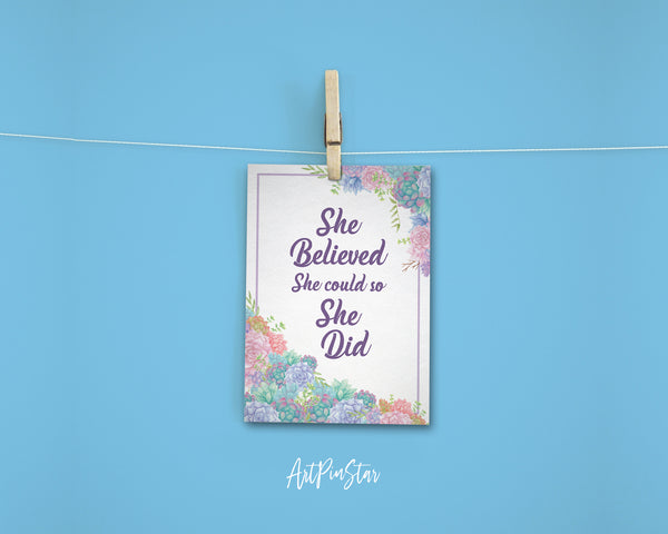 She believed she could so she did RS Grey Inspirational Quote Customized Greeting Cards