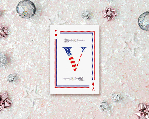 American Flag Letter V Diamond Monogram Note Cards