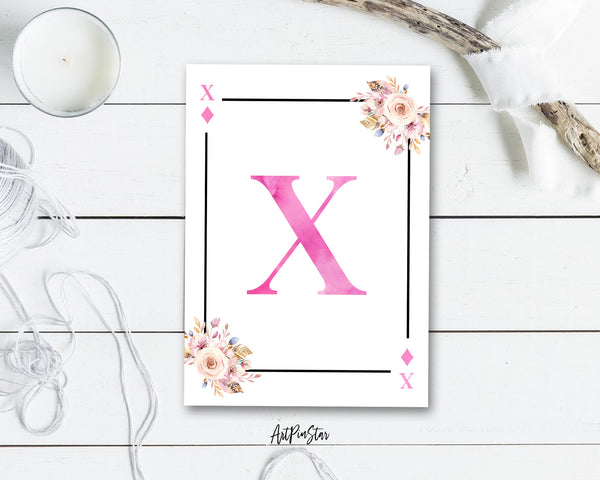 Boho Floral Bouquet Initial Flower Letter X Diamond Monogram Note Cards