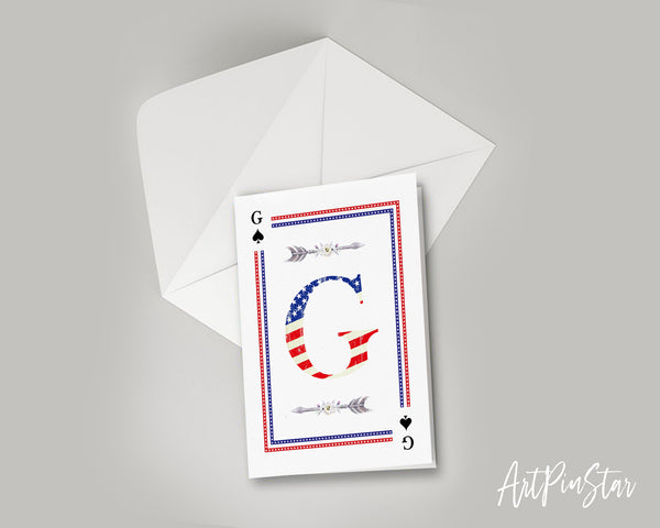 American Flag Letter G Spade Monogram Note Cards