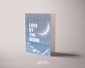 Love by the moon JT Jackson Quote Customized Greeting Cards