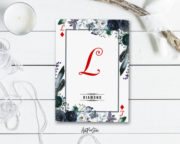 Watercolor Floral Flower Bouquet Initial Letter L Diamond Monogram Note Cards