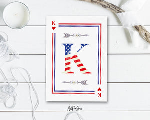 American Flag Letter K Heart Monogram Note Cards