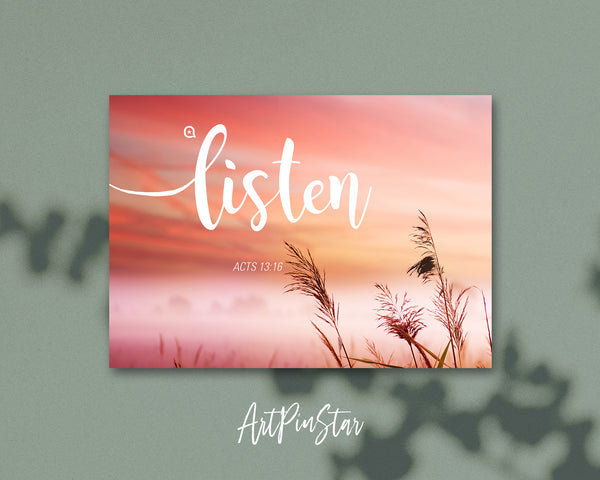 Listen Acts 13:16 Bible Verse Customized Greeting Card