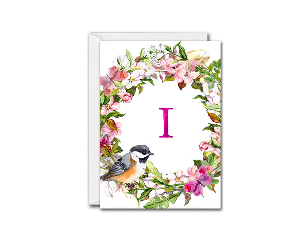 Alphabet Wreath Pink Letter I Boho Floral bird Monogram Note Cards