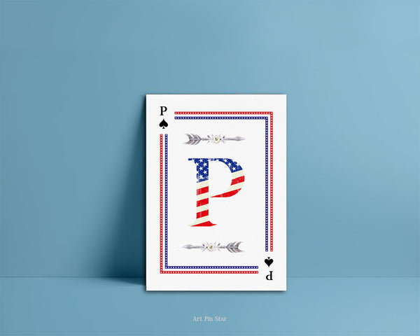 American Flag Letter P Spade Monogram Note Cards