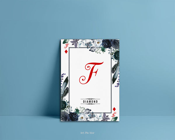Watercolor Floral Flower Bouquet Initial Letter F Diamond Monogram Note Cards