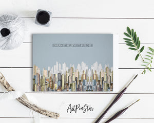 Dream it Believe it Build it New Year Customized Greeting Card