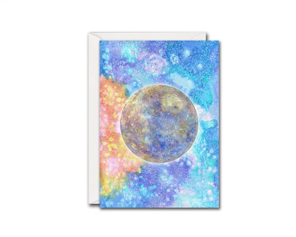 Mercury Planet Watercolor Galaxy Space Customizable Greeting Card