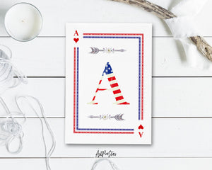 American Flag Letter A Heart Monogram Note Cards