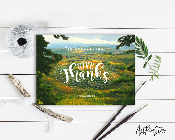 In everything give thanks 1 Thessalonians 5:18 Bible Verse Customized Greeting Card