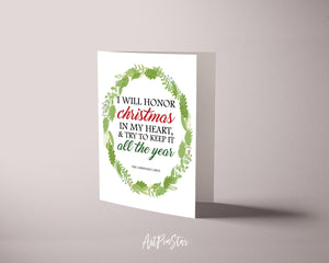 I will honor christmas in my heart & try to keep it Charles Dickens Customized Greeting Card