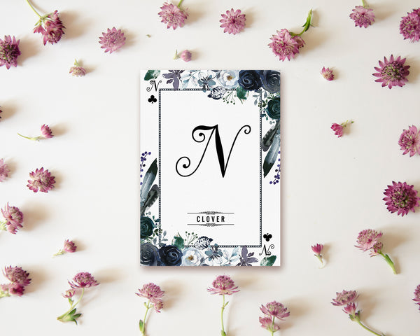 Watercolor Floral Flower Bouquet Initial Letter N Clover Monogram Note Cards