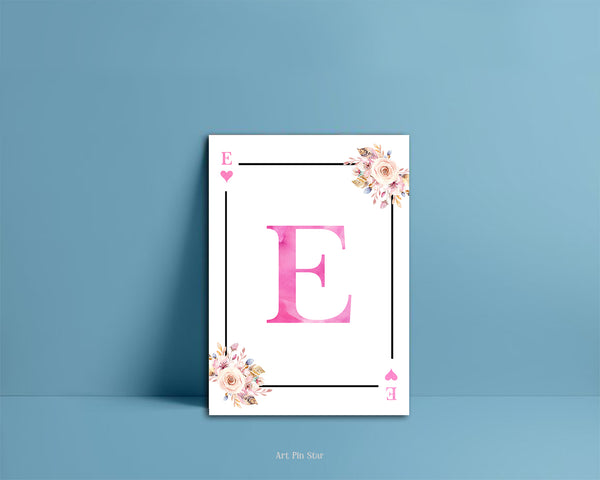 Boho Floral Bouquet Initial Flower Letter E Heart Monogram Note Cards