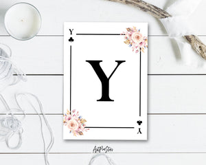 Boho Floral Bouquet Initial Flower Letter Y Clover Monogram Note Cards
