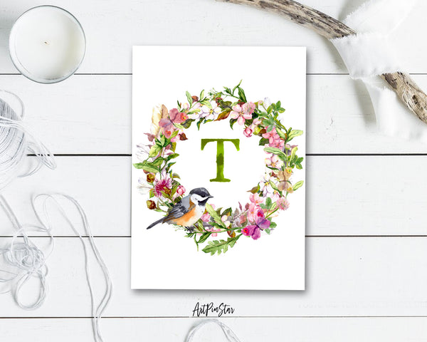 Alphabet Wreath Green Letter T Boho Floral bird Monogram Note Cards