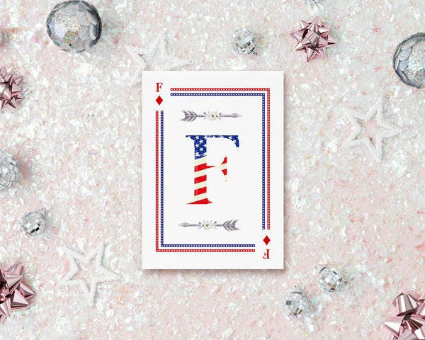 American Flag Letter F Diamond Monogram Note Cards