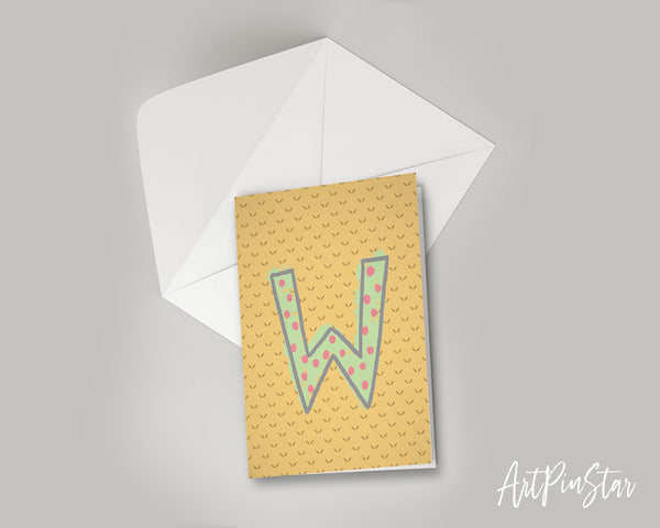 Alphabet Forest Letter W Animal Monogram Note Cards