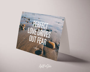 Perfect love drives out fear 1 John 4:18 Bible Verse Customized Greeting Card