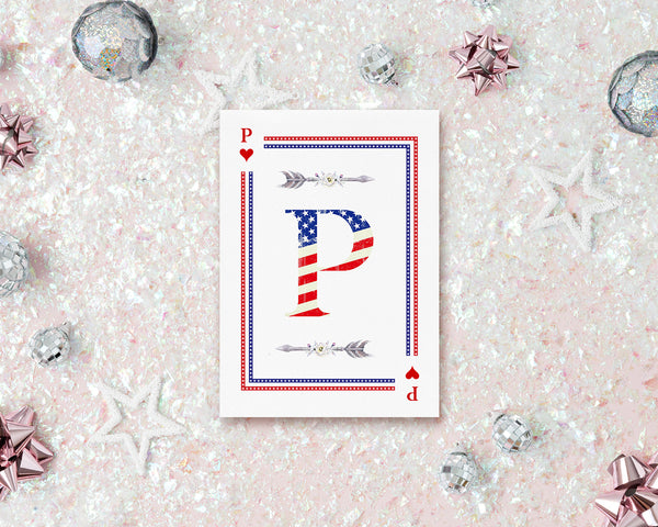 American Flag Letter P Heart Monogram Note Cards