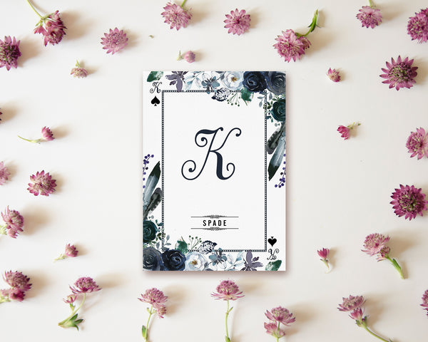 Watercolor Floral Flower Bouquet Initial Letter K Spade Monogram Note Cards