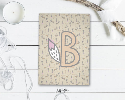 Alphabet Forest Letter B Animal Monogram Note Cards