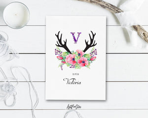 Initial Boho Floral Flower Personalized Letter V is for Name  Monogram Note Cards