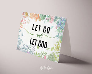 Let go and let God Bible Verse Customized Greeting Card
