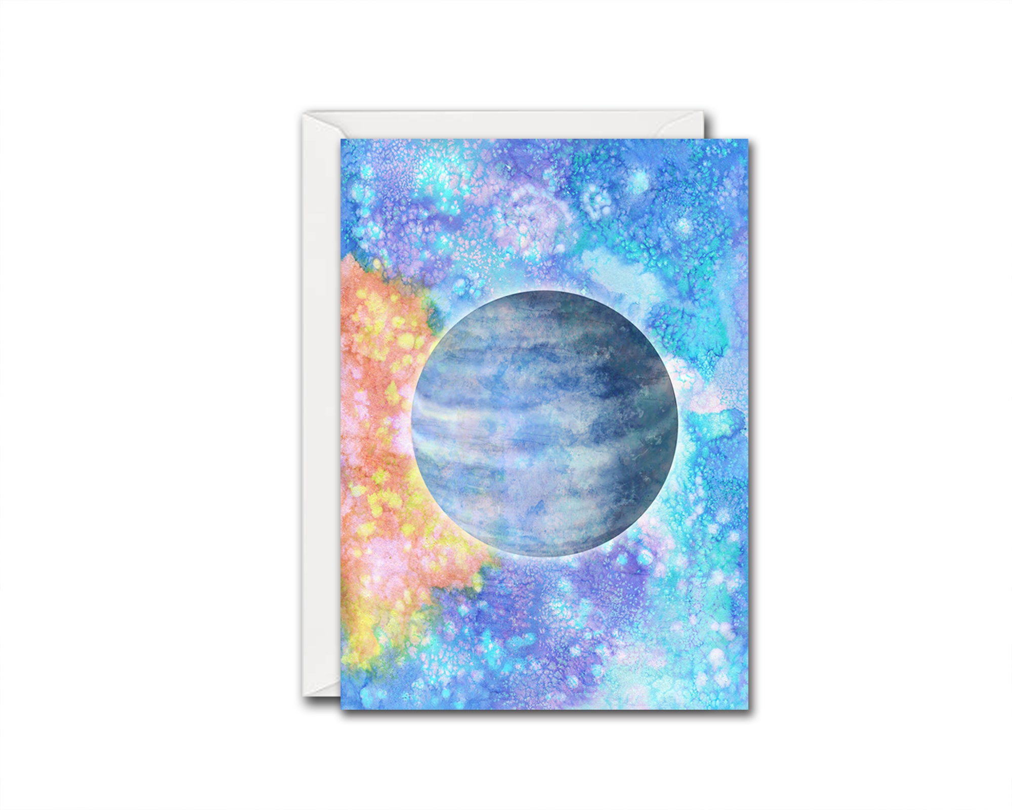 Neptune Planet Watercolor Galaxy Space Customizable Greeting Card