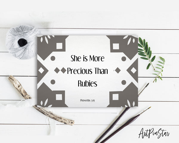 She is more precious than rubies Proverbs 3:5 Bible Verse Customized Greeting Card
