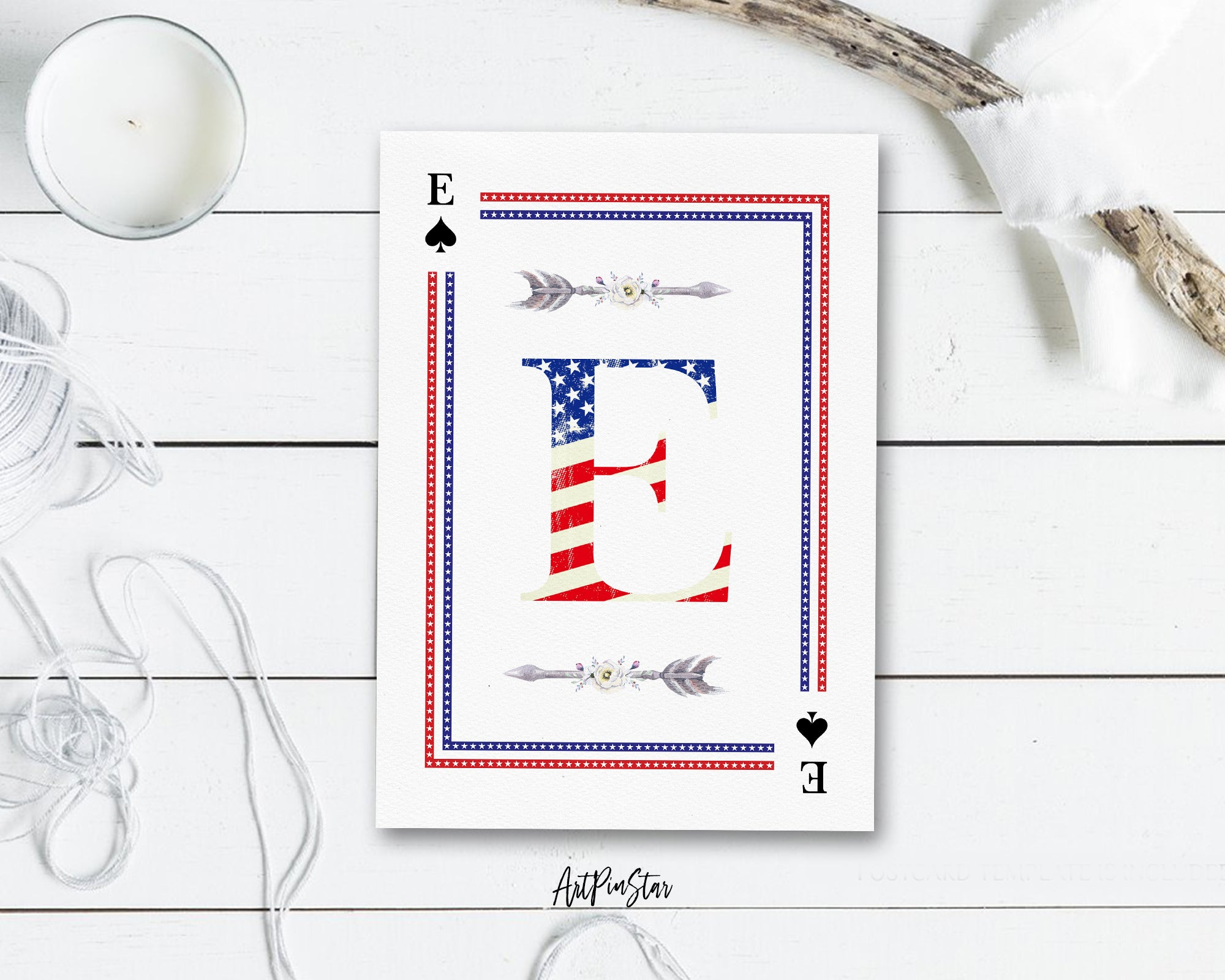 American Flag Letter E Spade Monogram Note Cards