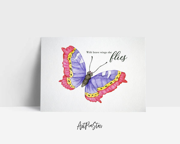 With brave wings she flies Butterfly Animal Greeting Cards