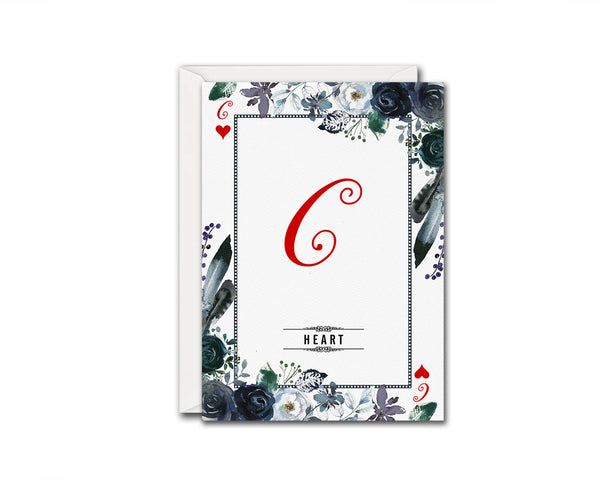 Watercolor Floral Flower Bouquet Initial Letter C Heart Monogram Note Cards