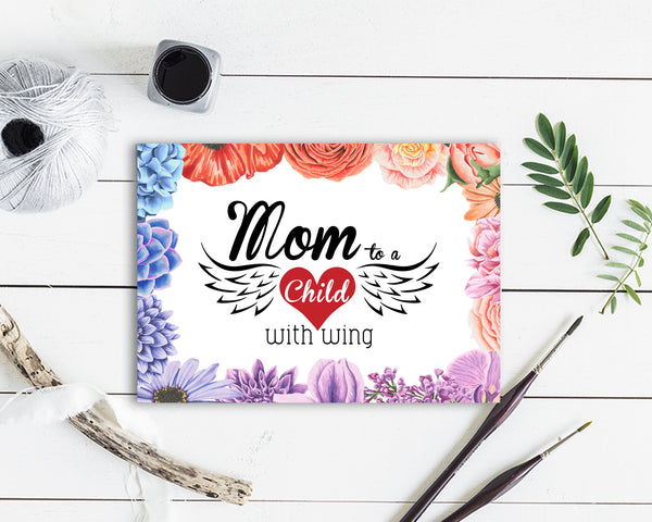 Mom to a child with wings Mother's Day Occasion Greeting Cards