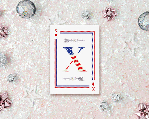 American Flag Letter X Diamond Monogram Note Cards