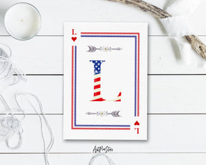 American Flag Letter L Heart Monogram Note Cards