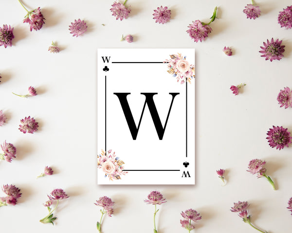Boho Floral Bouquet Initial Flower Letter W Clover Monogram Note Cards